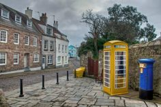 Alderney's only yellow phone box. Channel Islands Uk, Places Ive Been, Places To Go, Guernsey, Post Box, British Isles, Telephone, Oil Paintings, Wales