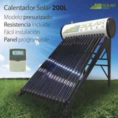 Calentador Solar Presurizado Tubos 200L PT200, sistema foto-térmico capaz de capturar la energía térmica del sol para usarla en el calentamiento de agua.