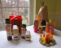 Thanksgiving Play Set Craft from Creekside Learning...great idea but going to make with wooden pegs... great to leave out with the Lincoln logs during November!