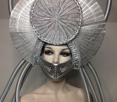 READY TO SHIP Apocalyptic cyborg Sci- Fi Cyber Futuristic gaga Wing silver Fantasy headdress headpeice wig