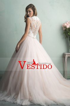 2015 V-Cuello de tul vestidos de boda A-Line con apliques Y Granos