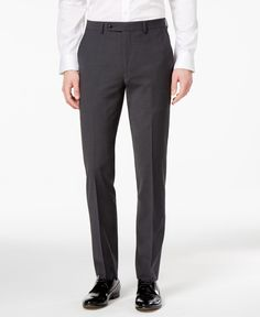 Bar Iii Men's Extra-Slim Fit Stretch Wrinkle-Resistant Charcoal Suit Pants, Created for Macy's - Gray Grey Dress Pants, Dresses With Leggings, Suit Pants, Wool Suit, Wool Pants, Charcoal Grey Dress, Macy Gray, Plus Size Activewear, Skinny Fit
