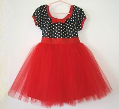 TUTU PARTY  DRESS in black and white polka dot Red tulle skirt baby toddler birthday party dress portrait flower girl special occasion. $44.00, via Etsy.
