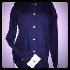 Ralph Lauren long sleeved cuffed shirt Classic dark blue Ralph Lauren button down shirt with white collar and cuffs. RL logo on one sleeve cuff with knot cuff links. Ralph Lauren Tops Button Down Shirts