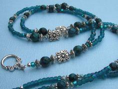 Beaded Lanyard ID Badge Holder Turquoise by TresorsdePerles Diy Jewellery, Jewellery Making, Beaded Jewelry, Beaded Bracelets, Beaded Lanyards, Bead Necklaces, Beaded Crafts, Green Gemstones, Id Badge Holders