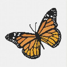Monarch Butterfly Cross Stitch Pattern Instant by NeedleAndFloss