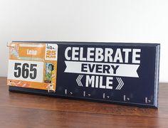 Race bib holder  - Celebrate Every Mile Inspirational Medal Display - Race Medal Holder