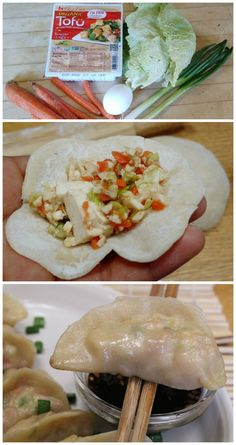 Step by step guide on how to make pan fried vegetarian dumplings with homemade dumpling dough, tofu, carrots, and cabbage. Cooking Tofu, Cooking Pumpkin, Healthy Cooking, Healthy Snacks, Cooking Recipes, Healthy Recipes, Cooking Salmon, Veggie Recipes, Asian Recipes