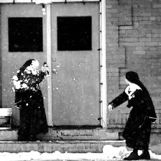 """Nuns having a snowball fight """"One of these days. Right in the kisser! The Nun's Story, Online Yoga Classes, Life Is Beautiful, Funny Photos, Bald Eagle, Persona, Catholic, Have Fun, Spirituality"""