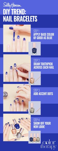 This winter, add the finishing touch to any party dress with Nail Bracelets, a trending nail look that takes its cues from the latest runway fashions. Achieve the look with Sally Hansen Color Therapy™ in Good As Blue, accented with metallic shades, Glow With The Flow and Therapewter.