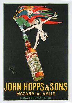 Great Original 1920s John Hopps Italian liquor advertising poster. Part of our $100 Summer Clearance poster sale on September 30, 2013.