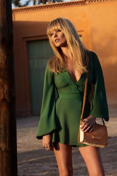 Kate Moss rocking the short green dress.
