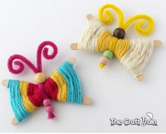 Kid-Friendly DIY Butterfly Crafts Ideas Projects Instructions: A Collection of Easy Butterfly Crafts for Kids and Young in Heart with different materials Easy Crafts For Kids, Toddler Crafts, Diy For Kids, Craft Stick Crafts, Yarn Crafts, Craft Ideas, Things To Make With Yarn, Spring Arts And Crafts, Butterfly Crafts