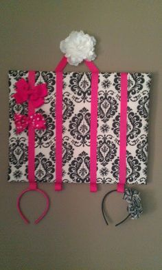 I want to make this for our future girl...Bow Organizer with Headband Holder. Girls 16x20in Wall Mountable Bow Holders,$25.00, via Etsy.