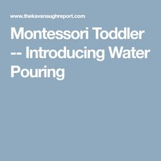 Montessori Toddler -- Introducing Water Pouring