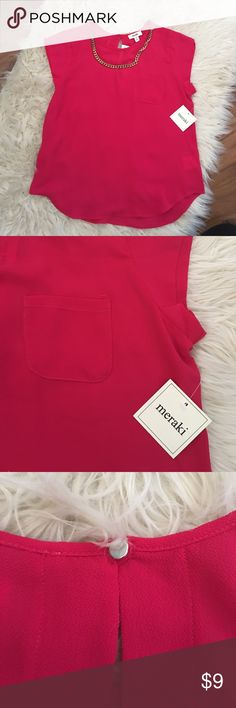 NWT Hot Pink Blouse with button closure on back Hot Pink Blouse with hot pink closure on back, small pocket on front left side. NWT!! Tops Blouses