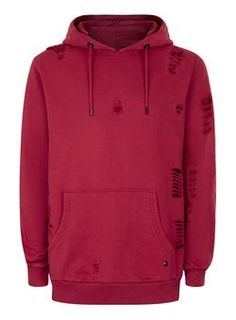 CRIMINAL DAMAGE Red Distressed Longline Hoodie*
