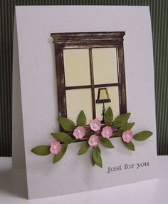 Stamping with Loll: Madison Window die with a wood grain look.  Love the tiny lamp in the corner of the window.