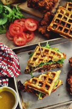 Looks so good! Fried chicken and waffle sandwiches.