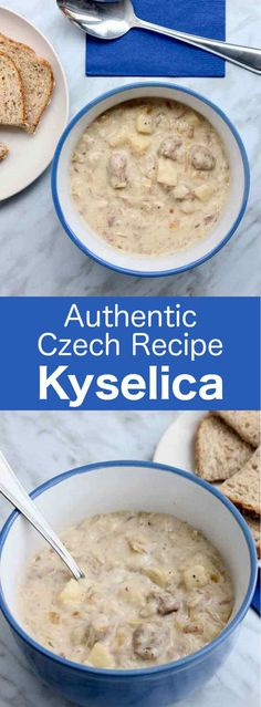 Kyselica is a deliciously thick traditional soup from the Czech Republic consisting of potatoes, sauerkraut and smoked meat. Kyselica is a deliciously thick traditional soup from the Czech Republic consisting of potatoes, sauerkraut and smoked meat. Slovak Recipes, Czech Recipes, Russian Recipes, Russian Foods, Czech Desserts, Kolache Recipe, Prague Food, Soup Recipes, Cooking Recipes
