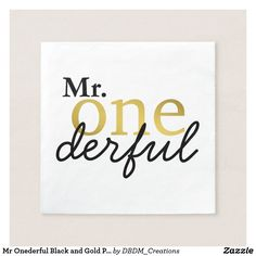 Mr Onederful Black and Gold Party Napkins Celebratory napkins for his first birthday