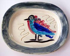 Picasso Ceramic Signed, Polychrome Bird, 1947