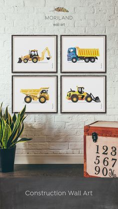 Backhoe Loader, Digger Print, Construction Art Print, Toddler Boys Room Decor, Truck Print, Transportation Wall Art, Birthday Printable, Instant Download, Watercolor, Yellow, Wall Decor, Ideas, Bedroom, Playroom Vehicles, Printable, Birthday Party Decorations, Edible Paper for Cake, DIY, Signs. By MORILAND Wall Art