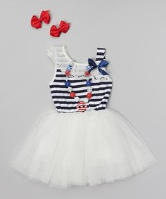 Look what I found on #zulily! Ivory & Red Stripe Tutu Dress Set - Infant, Toddler & Girls by The Princess Pea #zulilyfinds