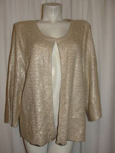ASHLEY STEWART Light Brown Gold 100% Acrylic 3/4 Sleeve Shrug Cardigan Sz 18/20 #ASHLEYSTEWART #Cardigan #CasualCareerWeartowork