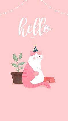 Wallpaper Iphone Disney, Cat Wallpaper, Cartoon Wallpaper, Pattern Wallpaper, Wallpaper Backgrounds, Whatsapp Wallpaper, Dog Illustration, Cute Animal Drawings, Pink Cat