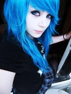 I have always wanted to dye my hair this bright of a blue, but the dye never is bright as it should be......