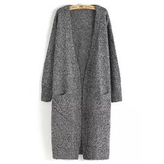 Long Sleeve Pockets Loose Grey Cardigan ($33) ❤ liked on Polyvore featuring tops, cardigans, grey, long tops, loose cardigan, long loose cardigan, embellished tops and gray cardigan