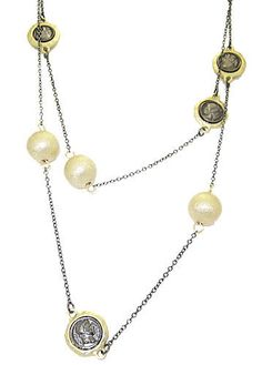 PEARLS COINS GUNMETAL NECKLACE 36 INCHES WEAR LONG OR DOULBE NEW HIGH QUALITY JEWELRY!!!