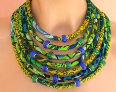 Gioielli etnici, tessuto africano collana, collana verde e blu - African cera stampa, tribali, collana di istruzione