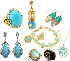 """Fine Jewelry, Gold and Turquoise...."" by mtserenity on Polyvore"