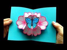 Pop Up Card: Flower and a butterfly 🌸 🦋 DIY gifts for mother's day / easter - DIY - Basteln mit Papier: Pop Up Karten Blumen & Schmetterling selber machen DIY Muttertagsgeschenk – Yo - Diy Gifts For Mothers, Mothers Day Cards, Mother Gifts, Pop Up Flower Cards, Pop Up Cards, Origami Butterfly, Butterfly Cards, Origami Flowers, Diy Flowers