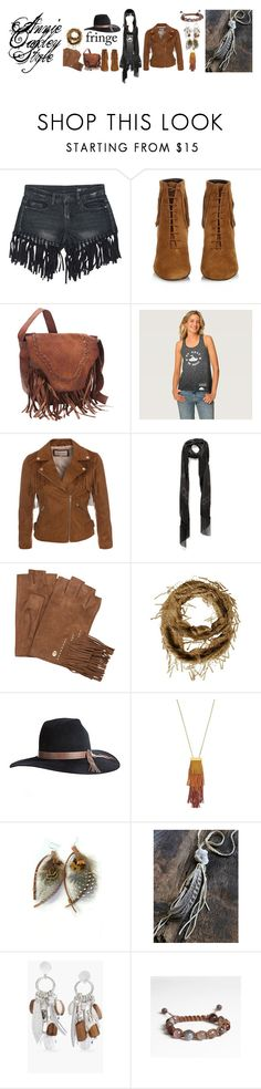 """Annie Oakley Style - #fringe 01"" by silkester on Polyvore featuring Mode, Sans Souci, Yves Saint Laurent, Alexander McQueen, Overland Sheepskin Co., Vince Camuto, Free People, Chico's und Michele Lerner"