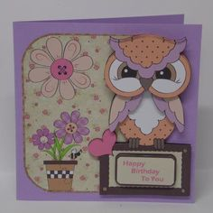 Have a hoot birthday over the edge card on Craftsuprint designed by Angela Wake - made by Laura Nicholls -