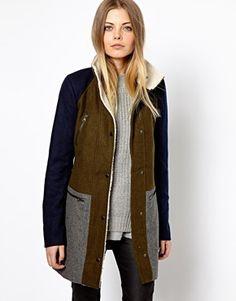 Image 1 of Vero Moda Color Block Teddy Collar Coat