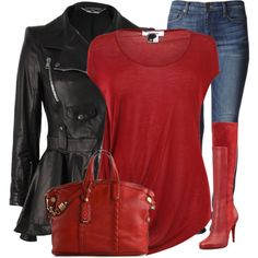 """""""Red, Black and Blue"""" by fashion-766 on Polyvore.  That Alexander McQueen jacket is soooo dope... But it's $5999 :("""