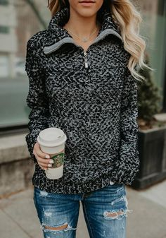Black-White Patchwork Pockets Zipper High Neck Long Sleeve Casual Pullover Sweater - Pullovers Sweater - Ideas of Pullovers Sweater Casual Skirt Outfits, Sweater Outfits, Trendy Outfits, Cute Outfits, Fashion Outfits, Pullover Mode, Pullover Sweaters, Patagonia Pullover, Fall Winter Outfits