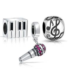 Bling Jewelry Sterling Silver Microphone Piano G Clef Music Note Bead Set Fits Pandora