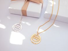 Zodiac Sign Necklace, Gold Necklace, Pendant Necklace, Zodiac Star Signs, Metal Necklaces, Last Minute Gifts, Gold Coins, Sterling Silver, Aquarius