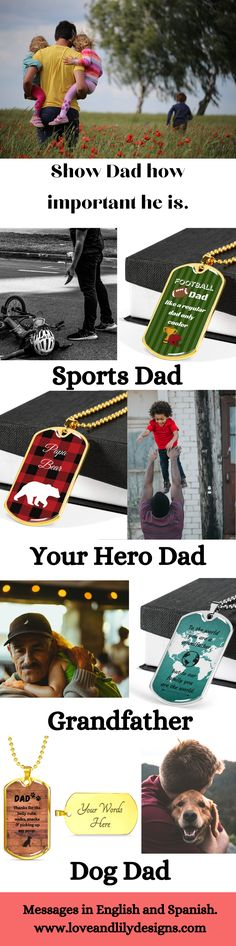 Our fathers have been there to support us every step of the way from our very first step, to starting school, graduation and beyond. Tell your special father, bonus dad or grandpa how important they are in your life. Our dog tag necklaces can be engraved with your own personal message and are available in silver or gold. As well we have options available in Spanish. Let us help you show your special dad how much you love him. #bestdadgift #personaldadgift #father'sdaygift 💕 Best Dad Gifts, Fathers Day Gifts, Personalized Gifts For Dad, Love Lily, Starting School, Small Town Girl, Strong Love, Cherished Memories, Dog Tag Necklace