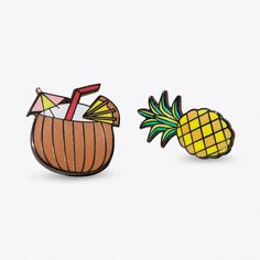 Pina Colada Pin Set ($16) ❤ liked on Polyvore featuring jewelry, brooches, butterfly jewelry, pin brooch, monarch butterfly jewelry, pin jewelry and pineapple jewelry
