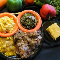 Oxtails, yellow rice and gravy,Mac n cheese, collard greens and corn bread | Yelp