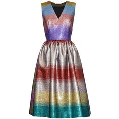 Marco De Vincenzo Metallic striped V-neck dress (€915) ❤ liked on Polyvore featuring dresses, full skirt, holiday party dresses, metallic party dress, wet look dress and glitter dress