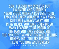 10 Best Mother And Son Quotes - Single Mothers Quotes - Ideas of Single Mothers Quotes - Sons are a blessing and here are 10 quotes for mother's to express their love. We capture the love a mother feels for her son with the I love my son quotes. Love My Son Quotes, I Love My Son, Mom Quotes, Mothers Love For Her Son, Family Quotes, Mother To Son, Mother Family, Son Sayings, Blue Quotes