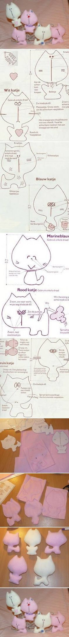 DIY Cute Little Fabric Cats DIY Projects | UsefulDIY.com Follow Us on Facebook --> https://www.facebook.com/UsefulDiy