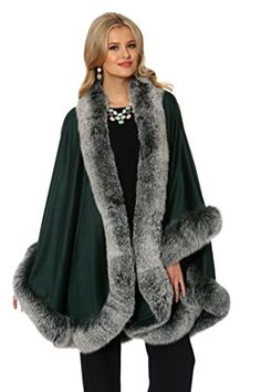 42bfdb728fe3e Madison Avenue Mall Womens 100% Cashmere Cape with Real Fox Fur Trim -  Emerald at Amazon Women s Clothing store